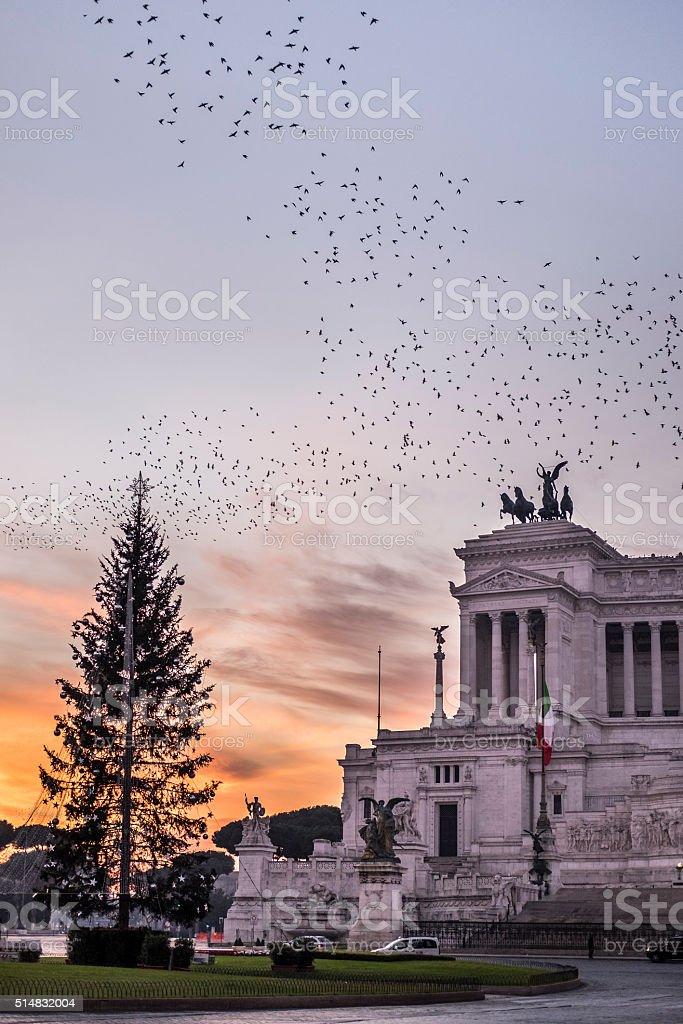 Sunrise at Altare della Patria stock photo