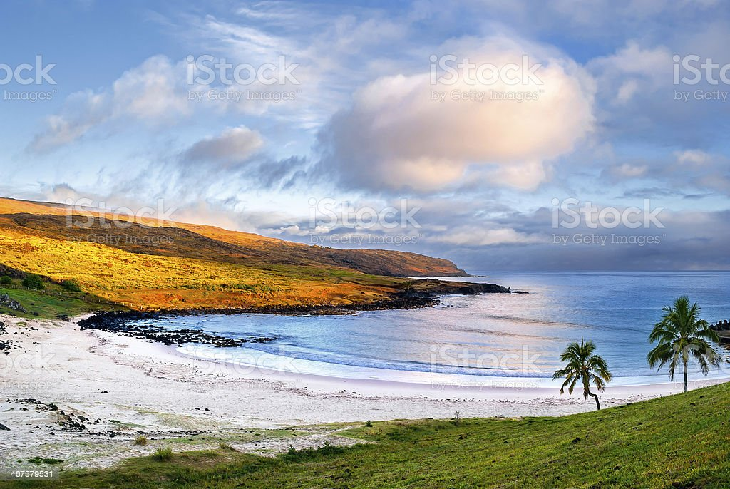 Sunrise at Anakena beach, Easter Island, Chile. stock photo