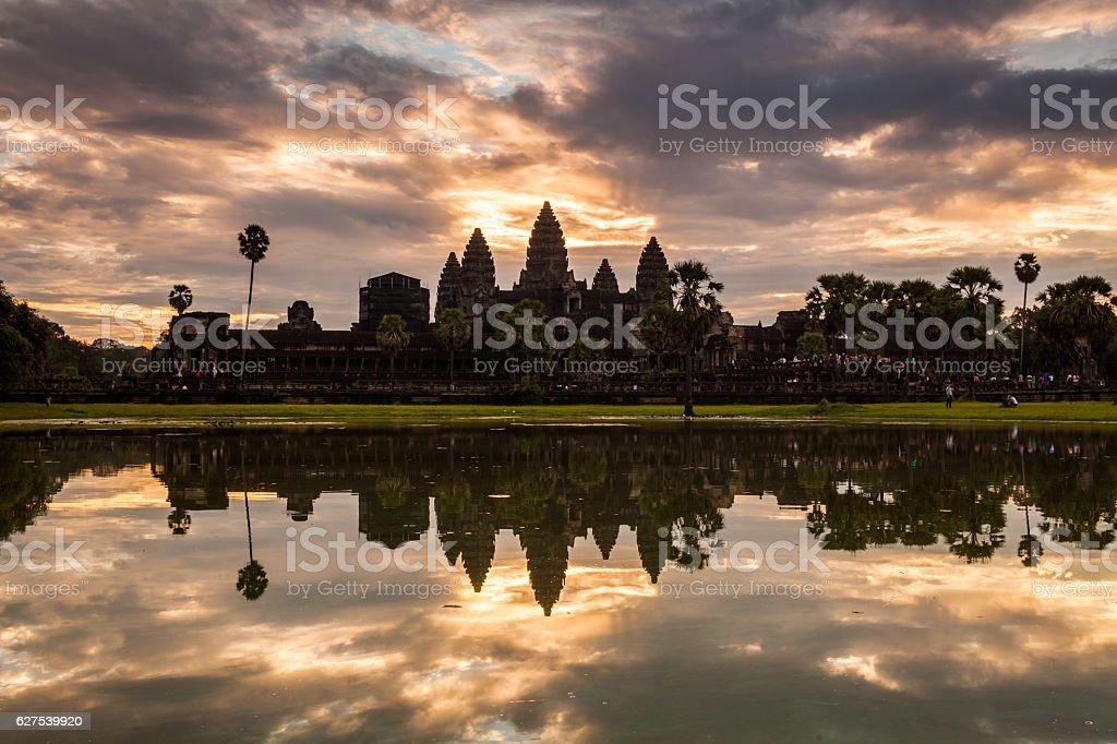 Sunrise at Angkor Wat stock photo