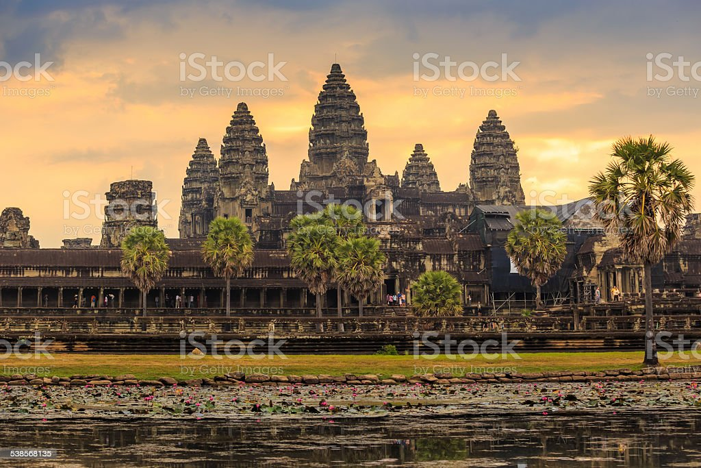 sunrise at Ankor Wat, Siem Reap, Cambodia stock photo