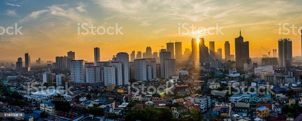 Sunrise at Asian City - Mandaluyong, Philippines stock photo