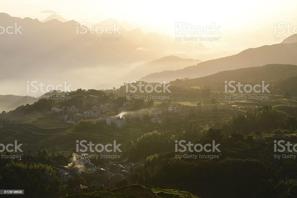 Sunrise at beautiful rice terrace fields in Mingao, Zhejiang, China royalty-free stock photo