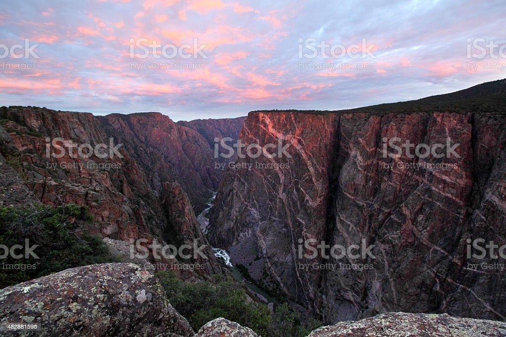Sunrise at Black Canyon, Colorado stock photo