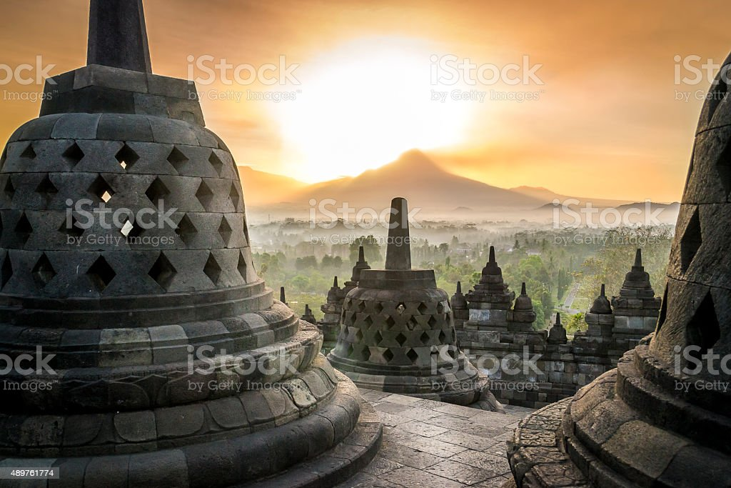 Sunrise at Borobudur stock photo