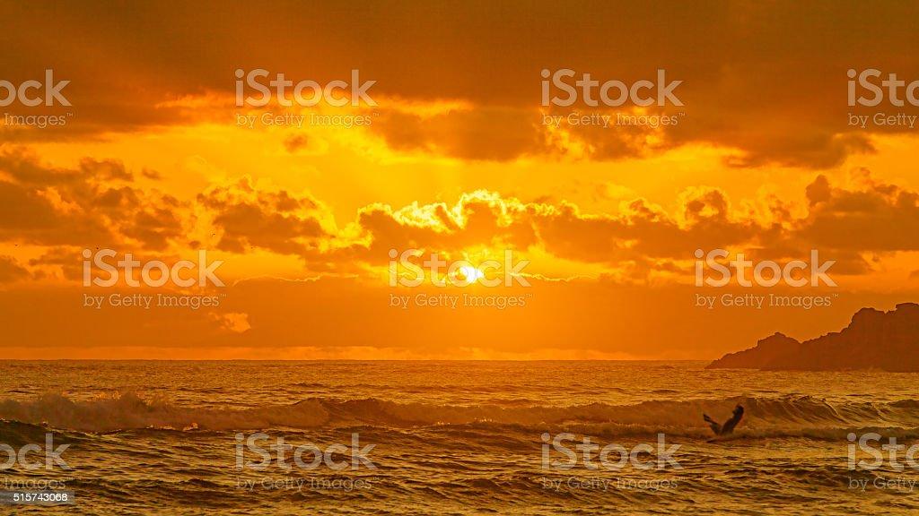 Sunrise at broken head stock photo