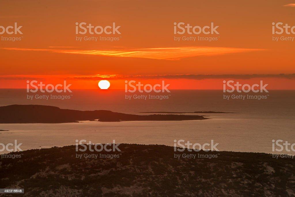 Sunrise at Cadillac Mountain, Acardia National Park, Maine stock photo