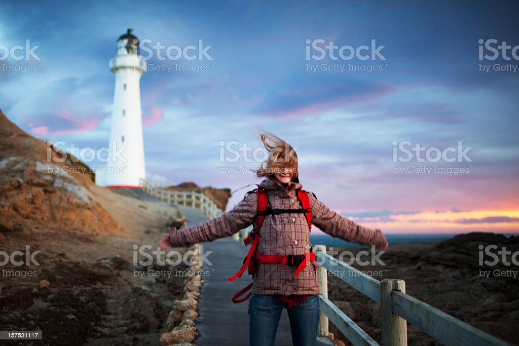 Sunrise at Castlepoint, New Zealand stock photo