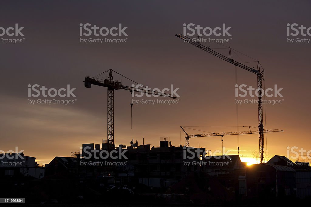 sunrise at construction site royalty-free stock photo