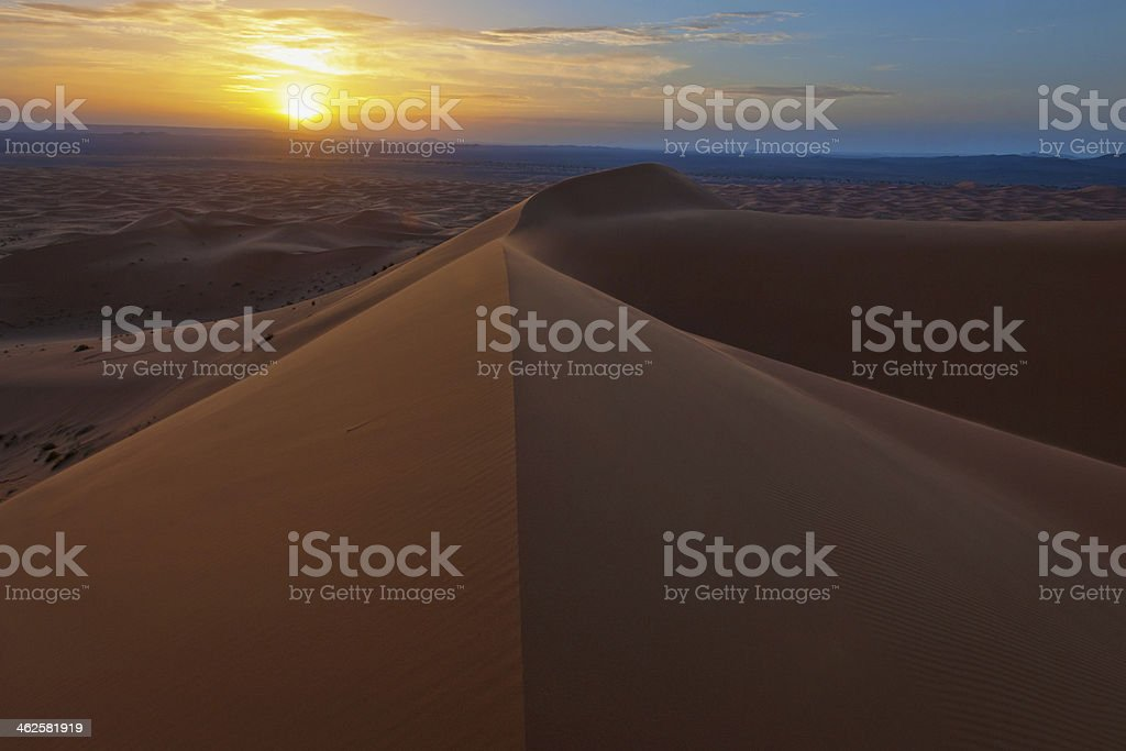 Sunrise at Erg Chebbi Sand Dunes, Morocco, Africa stock photo