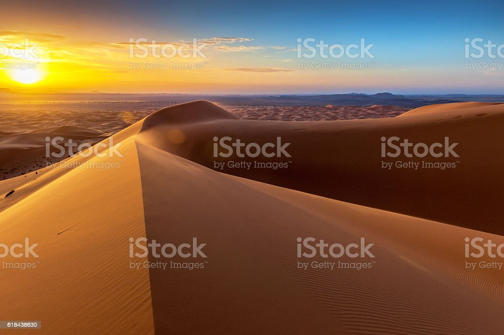 Sunrise at Erg Chebbi Sand Dunes, Morocco,North Africa stock photo
