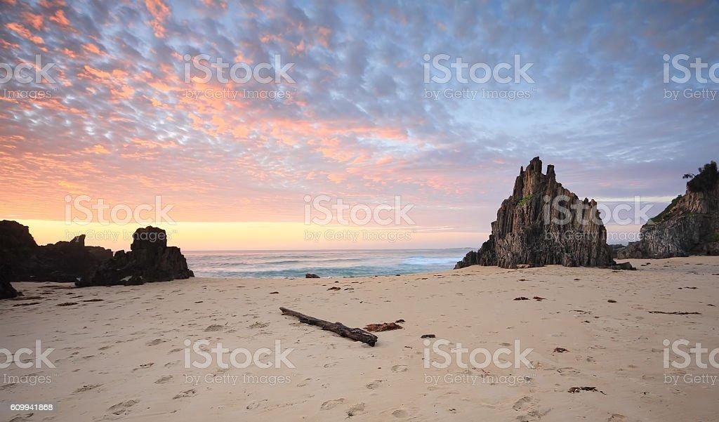 Sunrise at Eurobodalla National Park Meringo stock photo