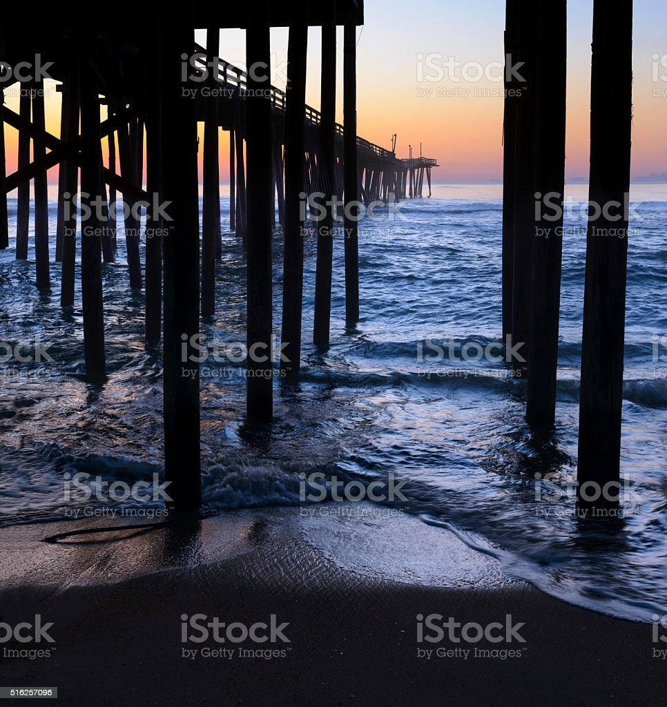 Sunrise at Fishing Pier in North Carolina stock photo