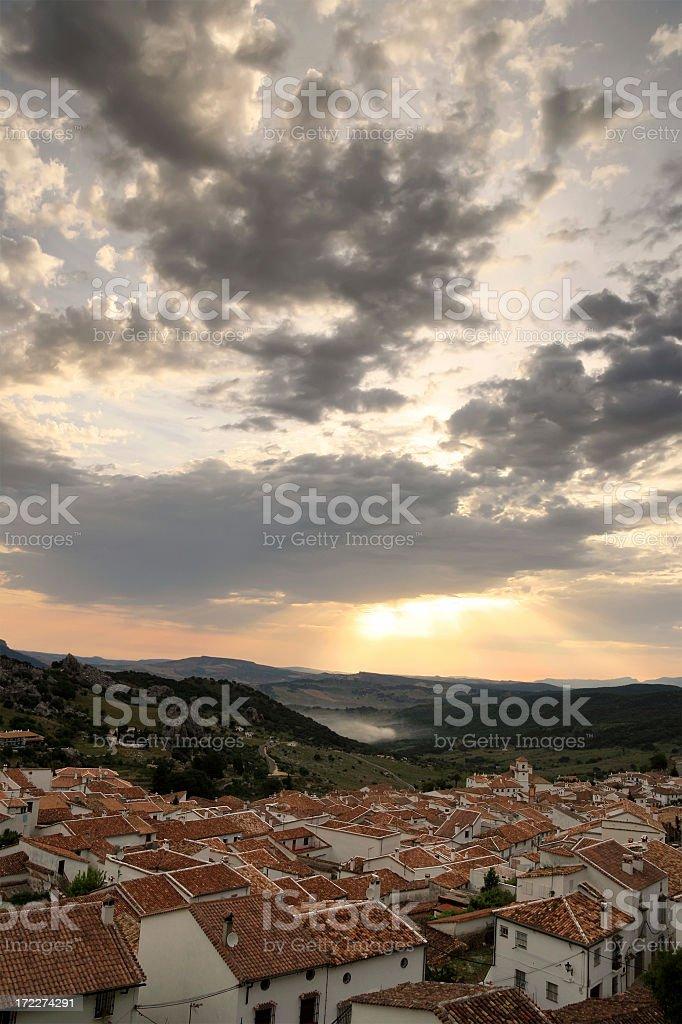 Sunrise at Grazalema stock photo