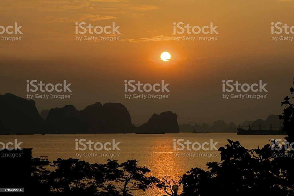 Sunrise at Ha Long Bay royalty-free stock photo