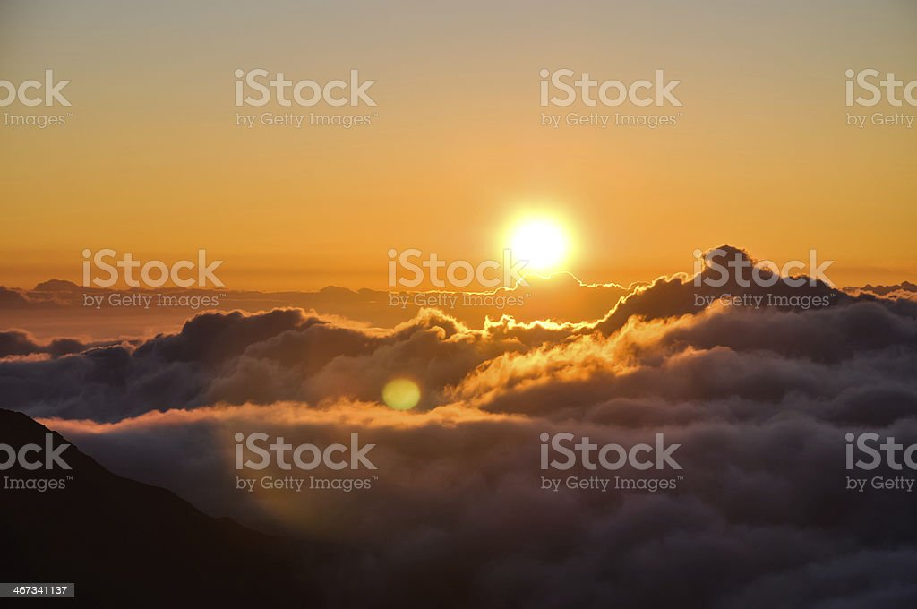 Sunrise at Haleakala Crater in Maui, Hawaii royalty-free stock photo