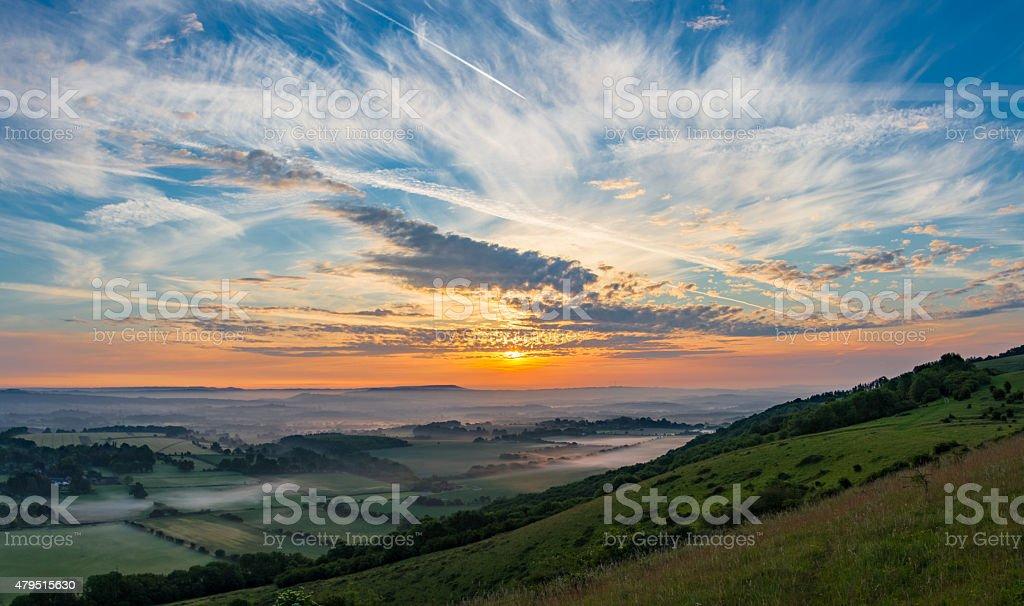 Sunrise at Harting Down. stock photo