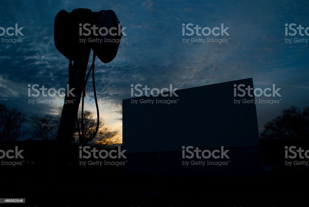 Sunrise at Hull's Drive-In stock photo