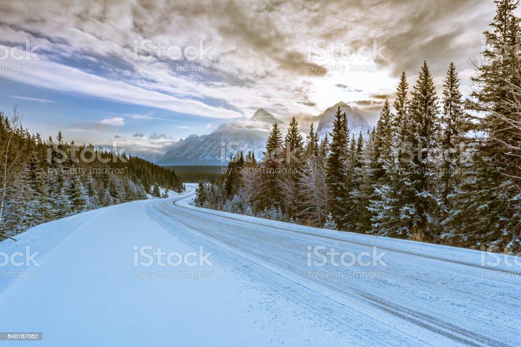 Sunrise at Icefields Parkway, Jasper National Park, Canada stock photo
