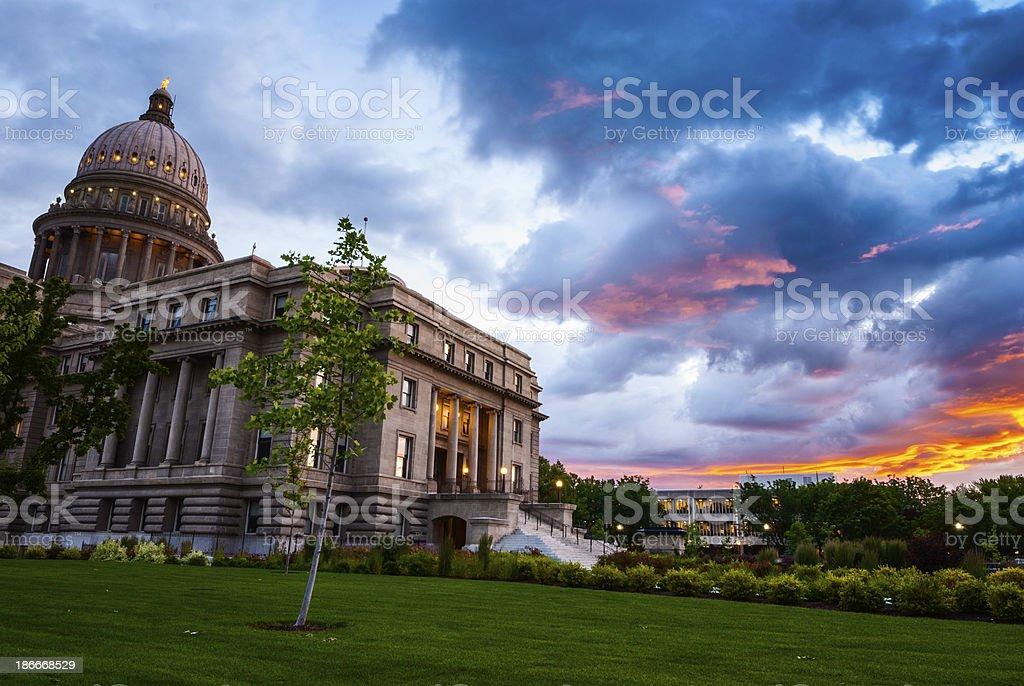 Sunrise at Idaho state Capitol, Boise royalty-free stock photo