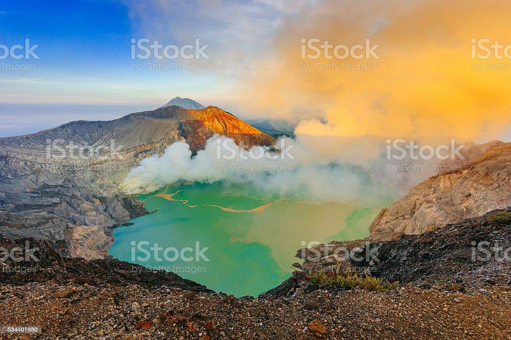 Sunrise at Ijen volcano (Kawah Ijen) stock photo