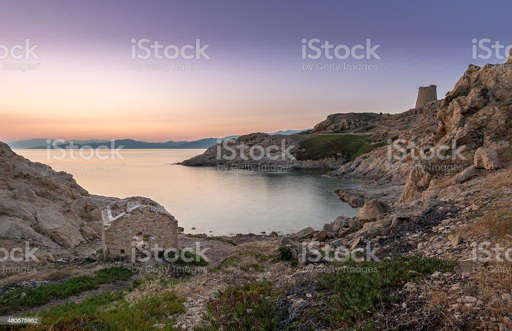 Sunrise at Ile Rouse in Corsica stock photo