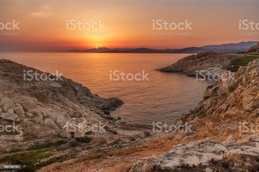 Sunrise at Ile Rousse in Corsica stock photo