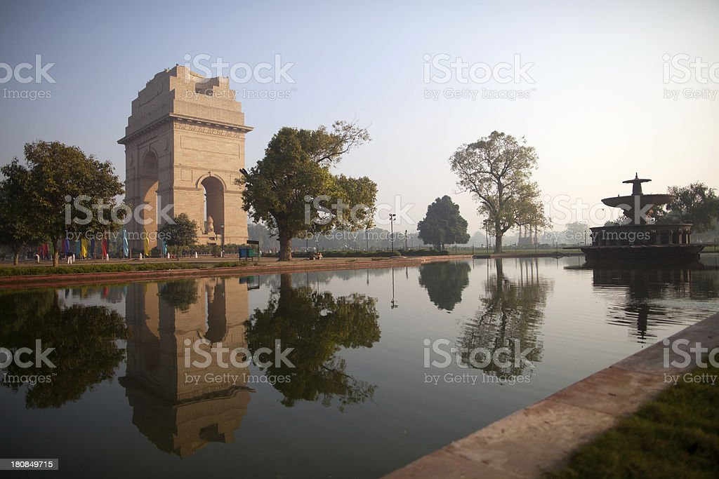 sunrise at India Gate, New Delhi stock photo