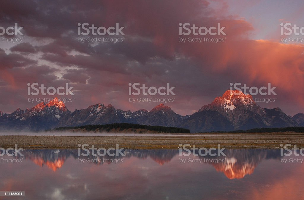 Sunrise at Jackson Lake royalty-free stock photo