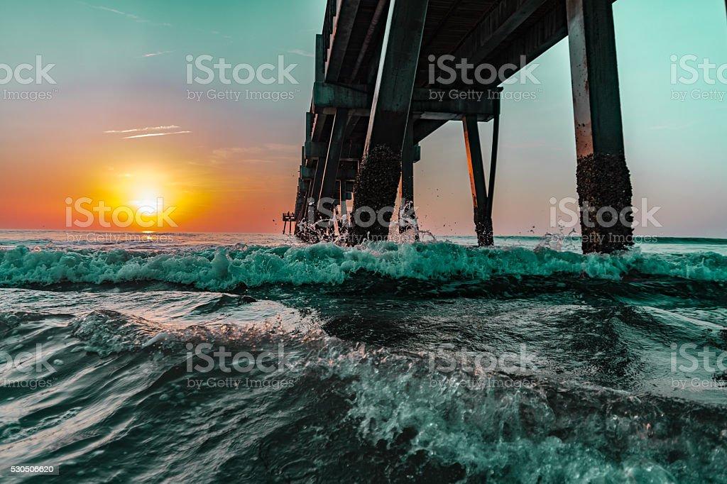 Sunrise At Jacksonville Beach Pier stock photo