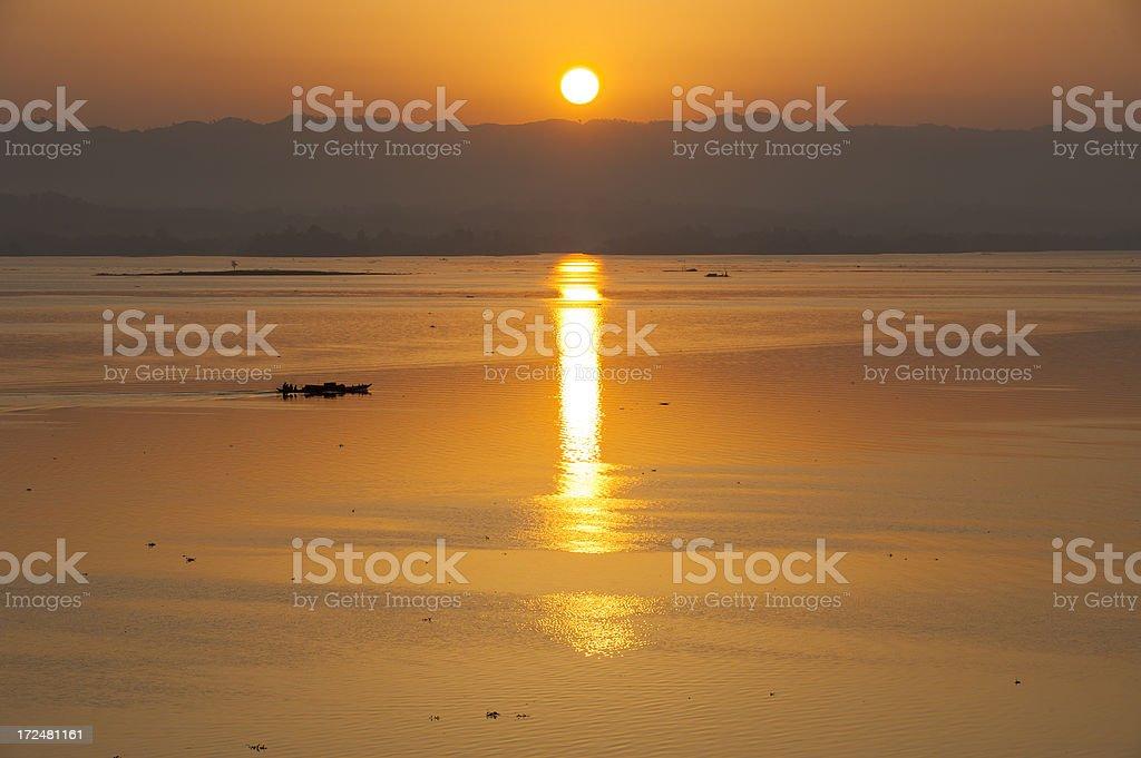 Sunrise at Kaptai Lake, Rangamati, Bangladesh stock photo