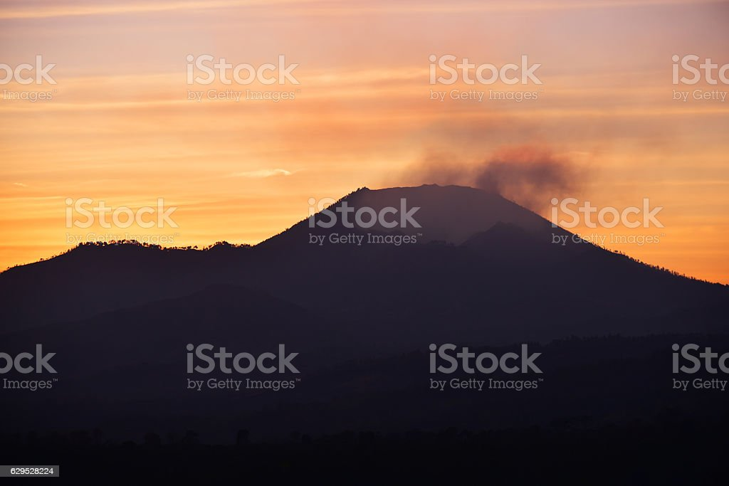 Sunrise at Kawah Ijen crater in East Java, Indonesia. stock photo