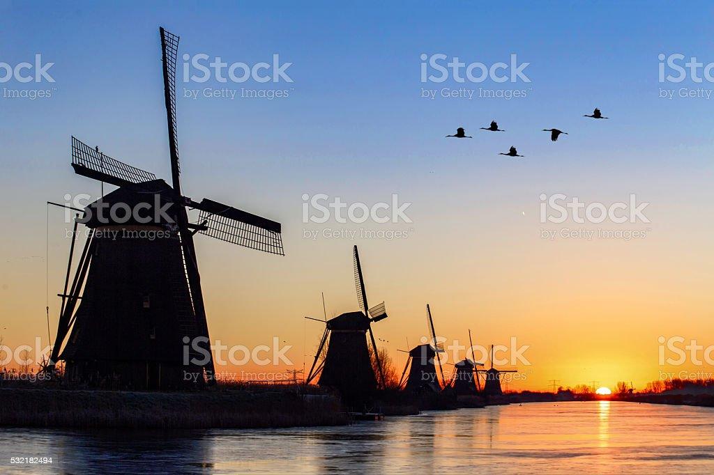 Sunrise at Kinderdijk stock photo