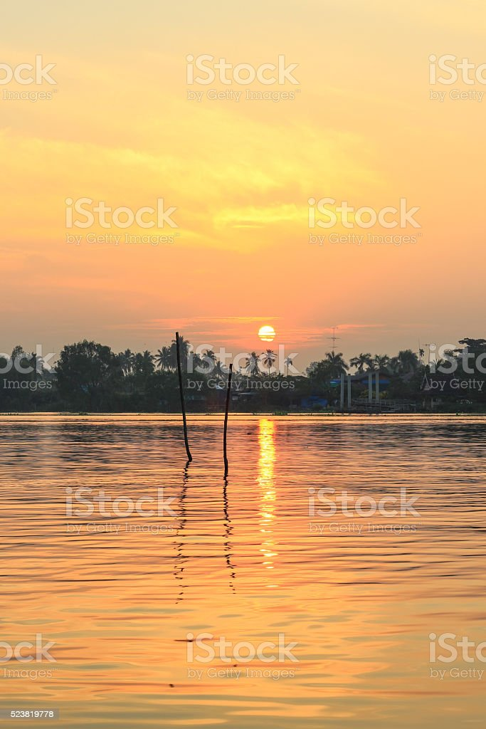 sunrise at Mae Klong River,Amphawa district,Samut Songkhram Province. stock photo