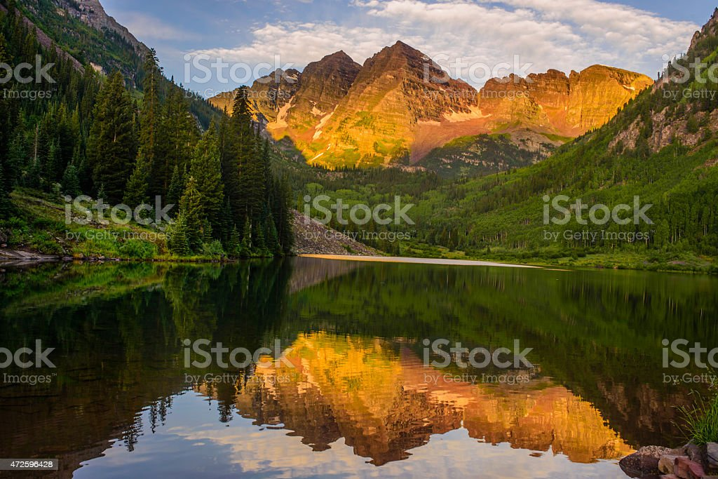 Sunrise at Maroon bell stock photo