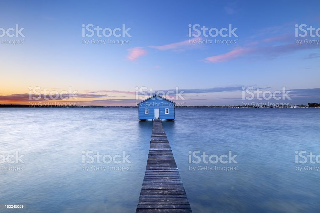 Sunrise at Matilda Bay boathouse in Perth, Australia royalty-free stock photo