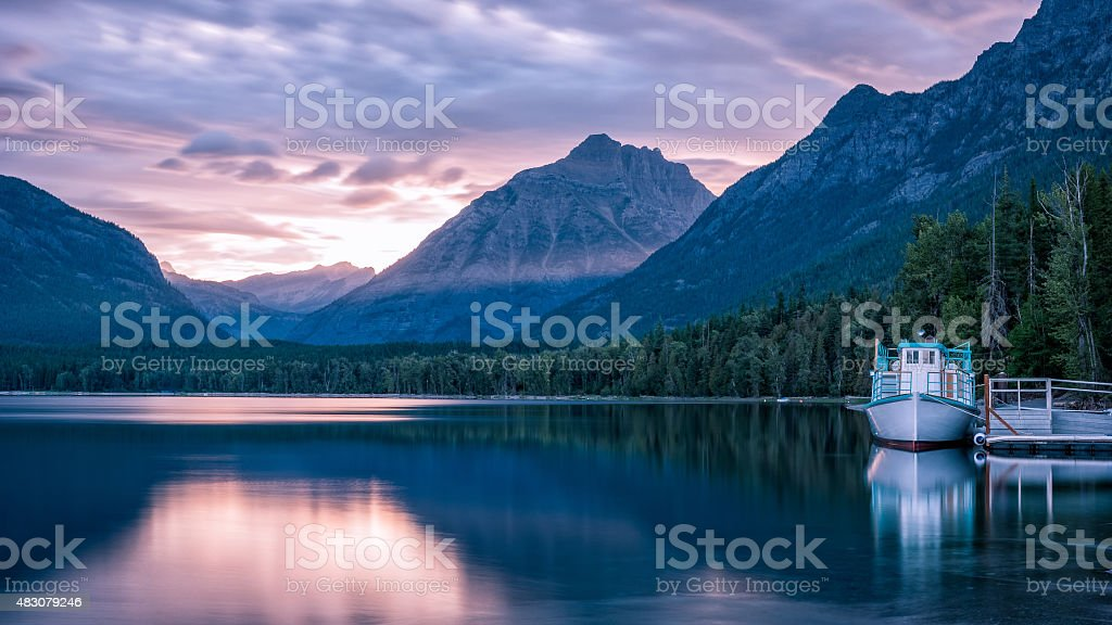 Sunrise at Mcdonald Lake stock photo