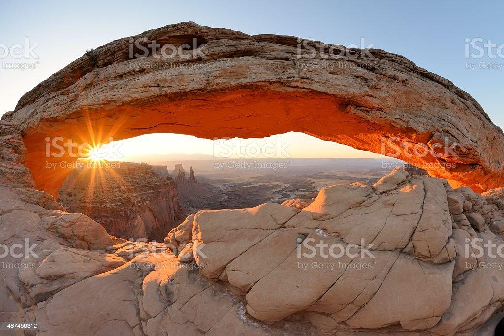 Sunrise at Mesa Arch Canyonlands stock photo