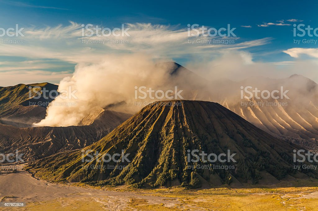 Sunrise at Mount Bromo volcano, the magnificent view stock photo