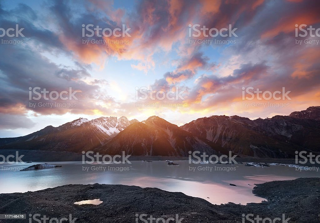 Sunrise at Mountain Cook stock photo