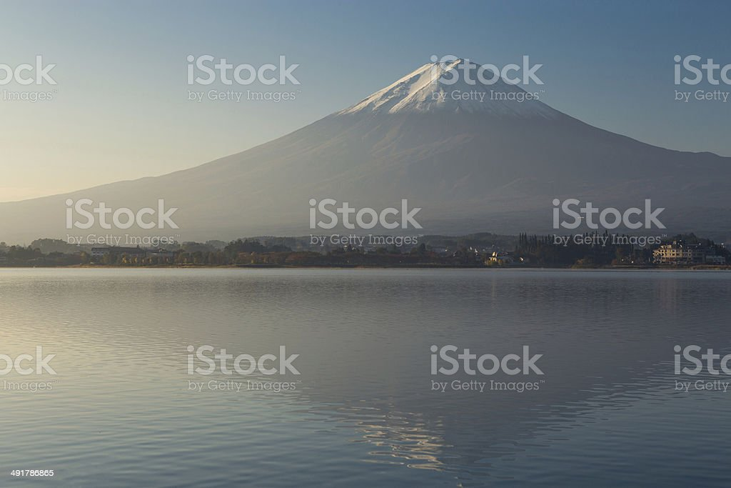 Sunrise at mountain Fuji in the morning stock photo
