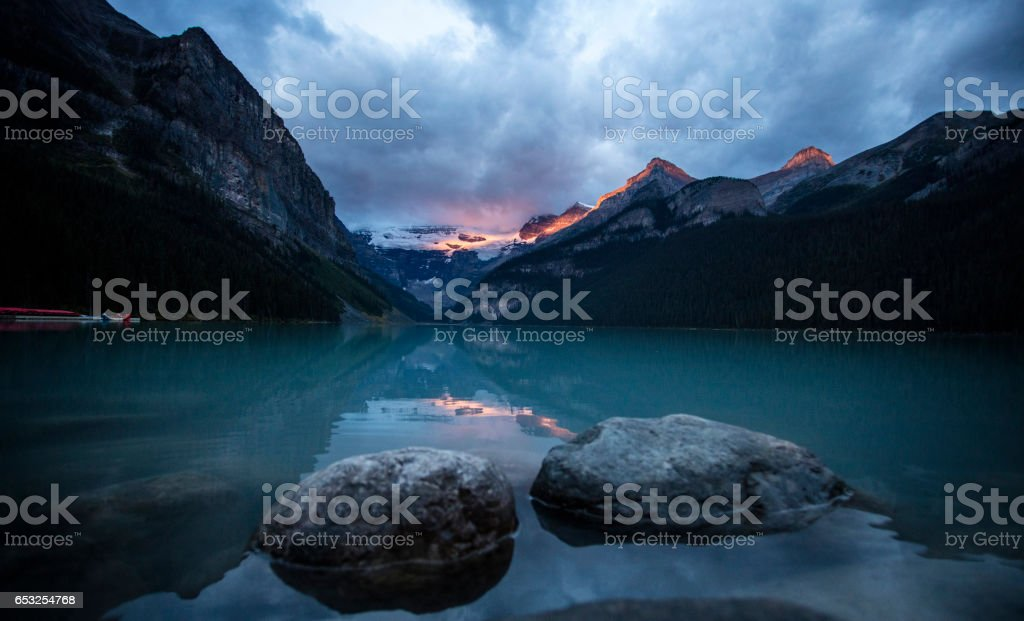 Sunrise at Mountain Lake stock photo