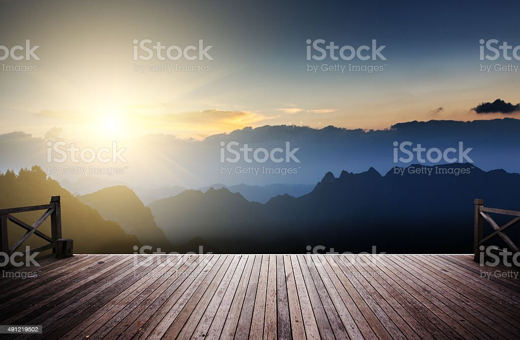 sunrise at mountain stock photo