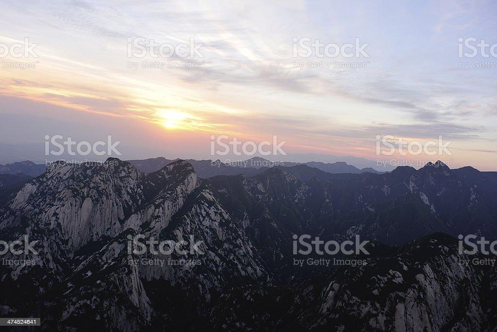 sunrise at Mt Huashan royalty-free stock photo