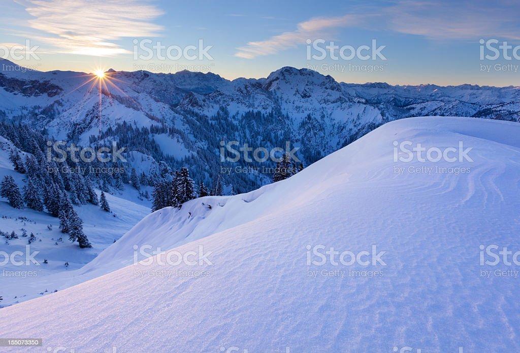 sunrise at mt. tegelberg, bavarian alps, germany stock photo