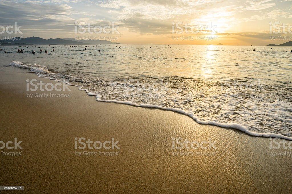 Sunrise at Nha Trang Beach, Vietnam stock photo