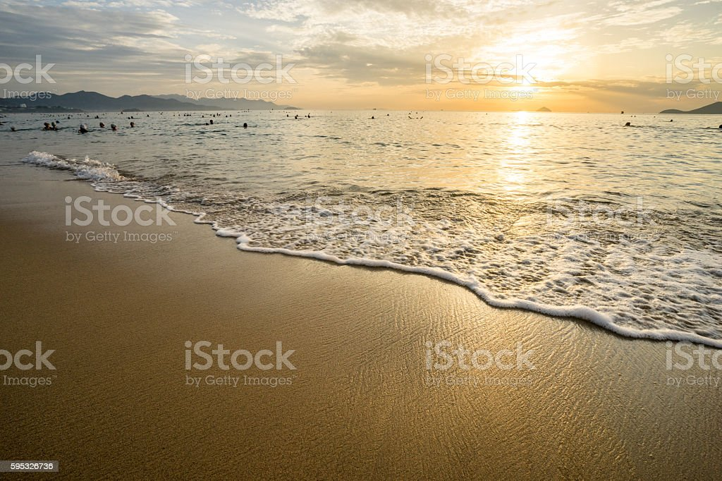 Sunrise at Nha Trang Beach, Vietnam stock photo