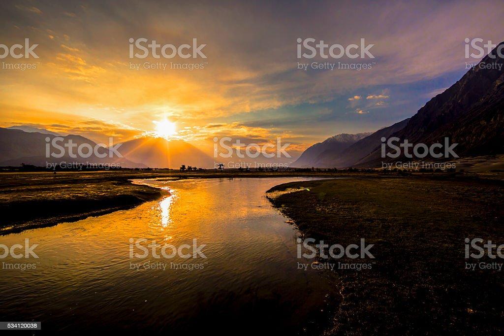 Sunrise at Nubra Valley, Leh Ladakh, India stock photo