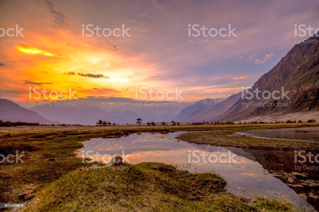 Sunrise at Nubra Valley, Leh Ladakh stock photo