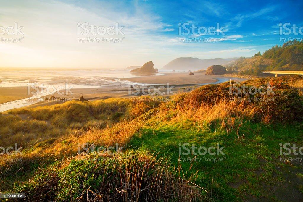 Sunrise at Oregon coast, Pacific ocean, Cannon beach stock photo