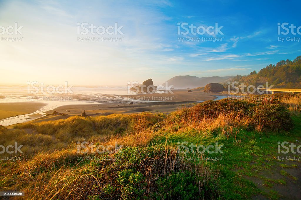 Sunrise at Oregon coast stock photo